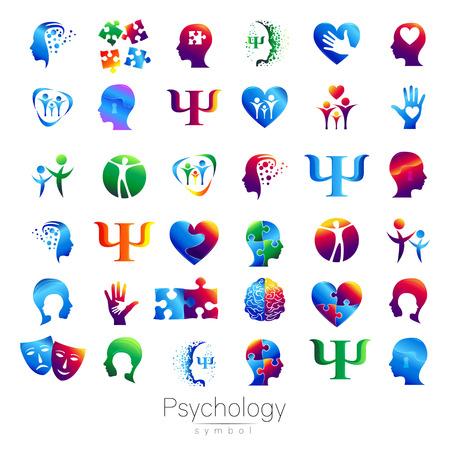 Moderne signe de tête Ensemble de psychologie. Profil humain. le style créatif. Symbole dans le vecteur. Concept design. société Brand. Vert bleu orange violet isolé sur fond blanc. Icône pour le web