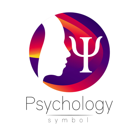 clinical psychology: Modern head icon sign of Psychology Illustration