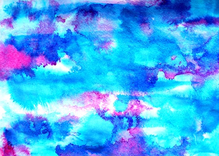 Abstract blue pink ink painting on grunge paper texture. Hand painted watercolor background.  wash. Illustration stain and spot. Bright color. Unusual creativity art.