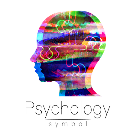 Modern Watercolor head icon of Psychology. Stock Photo