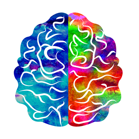 clinical psychology: Modern Watercolor head icon of Psychology. Profile Human. Creative style. Stock Photo