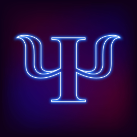 logical: Modern Sign Logo of Psychology. Psi. Creative style. Icon in . Design concept. Brand company. Neon blue color letter on blur background. Symbol for web, print, card, flyer. Logotype