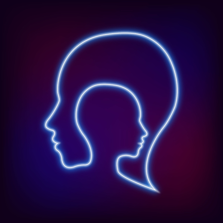 logical: Modern Neon logo head sign of Psychology. Profile Human. Creative style. Symbol in . Design concept. Brand company. Blue color isolated on blur background. Icon for web, print, logotype