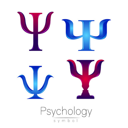 Modern logotype Sign Set of Psychology. Psi. Creative style. Icon in vector. Design concept. Brand company. Logo blue violet color letter on white background. Symbol for web, print, card, flyer. Bright