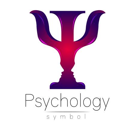 Logo moderno della psicologia. Psi. Stile creativo. Logotipo nel vettore. Idea di design. Società di marca. Lettera di colore viola su sfondo bianco. Simbolo per il web, la stampa, la carta, il volantino. Logo