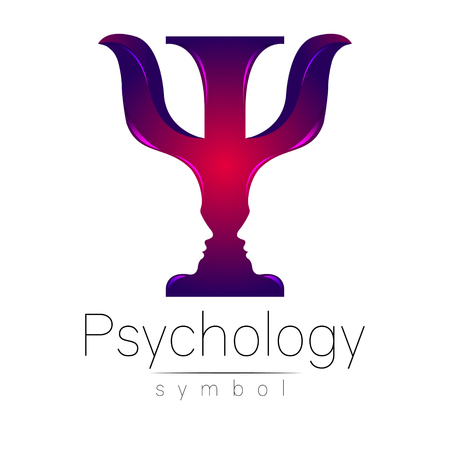 Modern logo of Psychology. Psi. Creative style. Logotype in vector. Design concept. Brand company. Violet color letter on white background. Symbol for web, print, card, flyer.