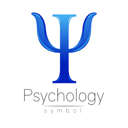 Modern logo of Psychology. Psi. Creative style. Logotype in vector. Design concept. Brand company. Blue color letter on white background. Symbol for web, print, card, flyer. Ilustrace