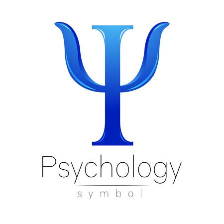 Moderne logo of Psychology. Psi. Creatieve stijl. Logo in vector. Concept ontwerp. Merk onderneming. Blauwe kleur letters op een witte achtergrond. Symbool voor web, print, kaart, flyer. Stock Illustratie
