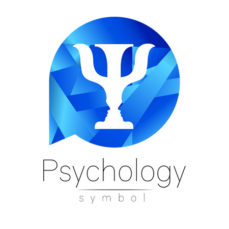 Modern logo of Psychology. Psi. Creative style. Logotype in vector. Design concept. Brand company. Blue color letter on white background. Symbol for web, print, card, flyer. Иллюстрация