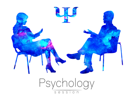 The psychologist and the client. Psychotherapy. Psycho therapeutic session. Psychological counseling. Man woman talking while sitting. Silhouette. Blue profile. Modern symbol logo. Design concept.Sign