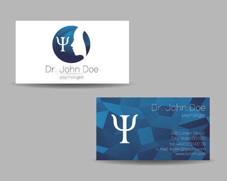 Psychology vector visit card. Modern Sign. Creative style. Design concept. Brand company. Blue color isolated on grey . Symbol for web, print. visiting personal set