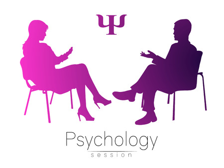 therapeutic: The psychologist and the client. Psychotherapy. Psycho therapeutic session. Psychological counseling. Man woman talking while sitting. Pink violet gradient color. Stock Photo