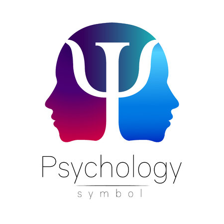 Modern head sign of Psychology. Profile Human. Letter Psi. Creative style. Symbol in vector. Violet blue color isolated on white background. Icon for web. Gradient.