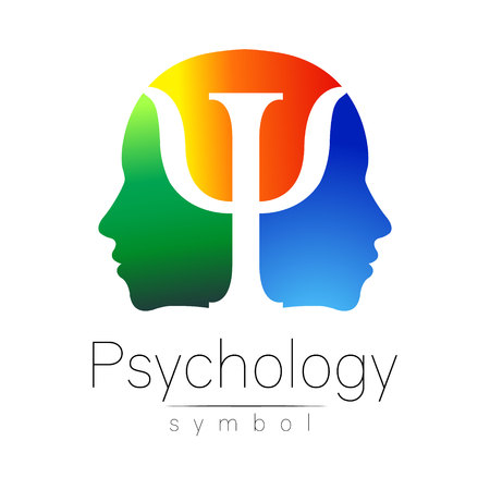Modern head sign of Psychology. Profile Human. Letter Psi. Creative style. Symbol in vector. Yellow green blue color isolated on white background. Icon for web. Gradient.