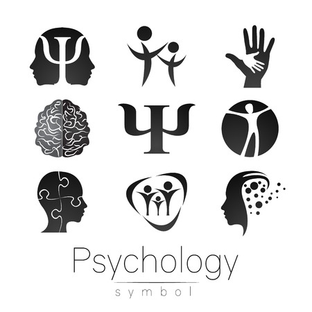 Sign Set of Psychology. Creative style. Icon in vector. Grey color symbol on white background. Element for web, print, card