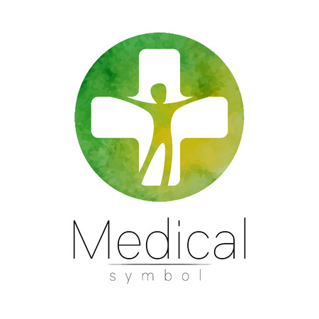 Vector Medical Sign With Cross Human Profile Symbol For Doctors