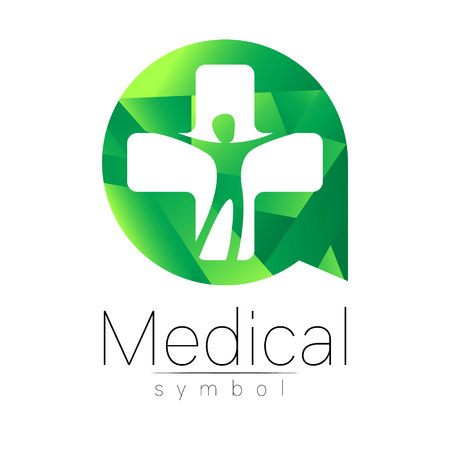 Vector Set Of Medical Sign With Cross Inside Human Profile