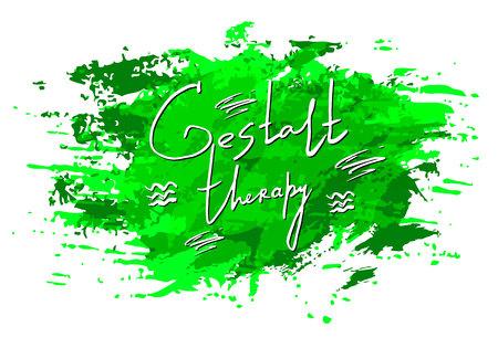 Vector acuarela mancha textura. Carta de Psicología Gestalt. Aislados en fondo blanco. Elemento de grunge pintado a mano. Diseño artístico sucio Color verde.