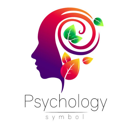 Modern head Logo sign of Psychology. Profile Human. Green Leaves. Creative style. Symbol in vector. Design concept. Brand company. Violet color isolated on white background. Icon for web, logotype. Çizim