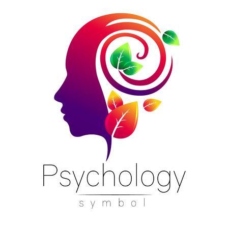 Signo moderno de la insignia del logotipo de la psicología. Perfil Humano. Hojas verdes. Estilo creativo. Símbolo en el vector. Concepto de diseño. Marca de la empresa. Color violeta aislado sobre fondo blanco. Icono de web, logotipo.