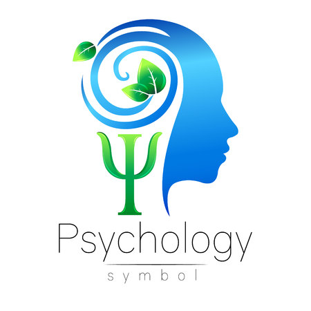 Modern head Logo sign of Psychology. Profile Human. Green Leaves. Letter Psi . Symbol in vector. Design concept. Brand company. Blue color isolated on white background. Icon for web, logotype.
