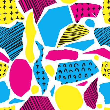 wawe: Vector colorful seamless pattern with brush strokes and cross. Pink blue yellow black color on white background. Illustration