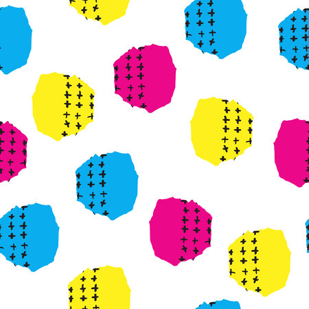 Vector colorful seamless pattern with brush blots and cross. Pink blue yellow black color on white background.