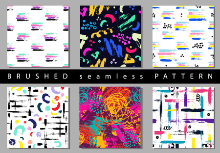 wawe: Set of Vector colorful seamless pattern with brush strokes and dots. Pink blue yellow green color on black background. Hand painted grange texture. Ink geometric elements. Fashion modern style.Unusual Illustration