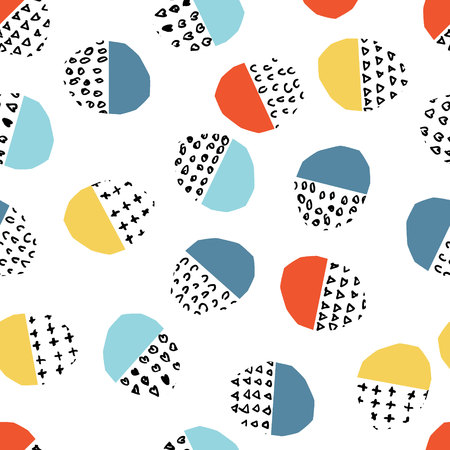 Vector colorful seamless pattern with brush dots, strokes, circles and strokes. Rainbow color on white background. Hand painted grange texture. Ink geometric elements. Fashion modern style. Unusual