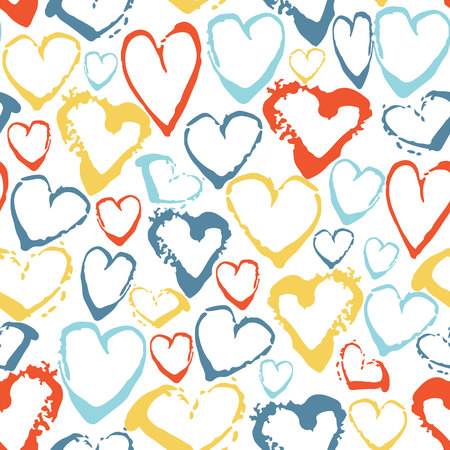 Vector colorful seamless pattern with brush strokes hearts. Summer fantasy . Rainbow color on white background. Hand painted grange texture. Ink love elements. Fashion modern style. Unusual Иллюстрация