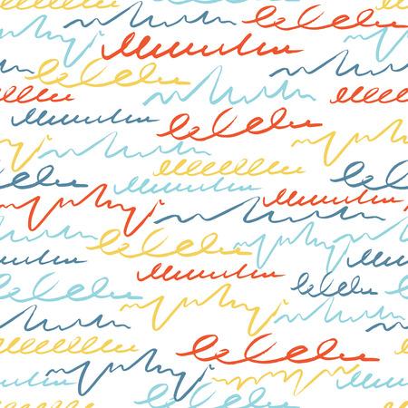 ベクター ブラシ ストロークの文字とカラフルなシームレス パターン。夏のファンタジー。白い背景の虹色。手描きのグランジ テクスチャ。インク