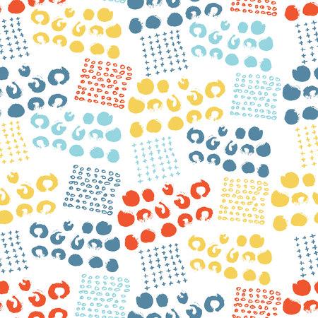 ベクトル カラフルなシームレス パターン ブラシ ドット、ストローク、サークルとストローク。白い背景の虹色。手描きのグランジ テクスチャ。イ