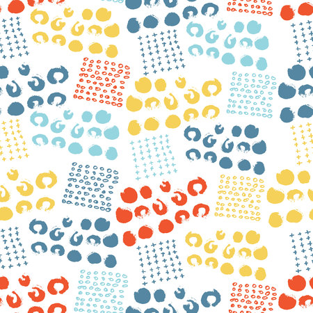 Vector colorful seamless pattern with brush dots, strokes, circles and strokes. Rainbow color on white background. Hand painted grange texture. Ink geometric elements. Fashion modern style. Summer Иллюстрация
