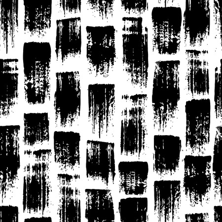 Vector seamless pattern with brush stripes and strokes. Black color on white background. Hand painted grange texture.