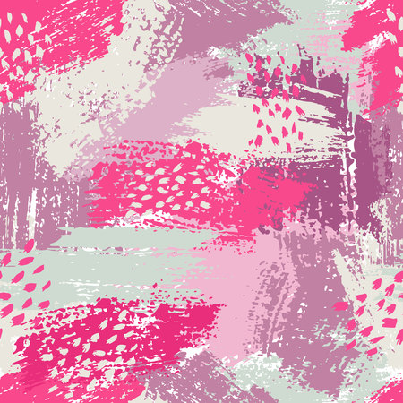 Vector seamless pattern with brush stripes and strokes. Pink blue violet color. Background. Hand painted grange texture.