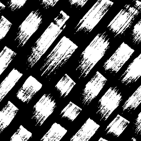 wawe: Vector seamless pattern with brush stripes and strokes. White color on black background. Hand painted grange texture. Ink geometric elements. Fashion modern style. Endless fabric print.