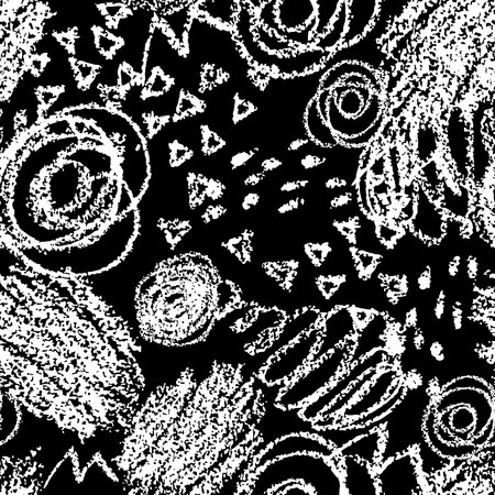 wawe: Vector seamless pattern with brush strokes and dots. White color on black background. Hand painted grange texture. Ink geometric elements. Fashion modern style. Unusual. Look like chalk and blackboard. threadbare. Illustration