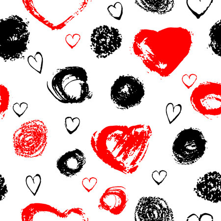 wawe: Vector seamless pattern with brush stripes and strokes. Black red color on white background. Hand painted grange texture. Ink geometric and heart elements. Fashion modern style. Endless fabric print Illustration