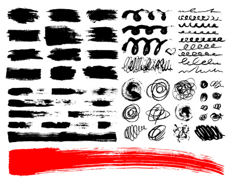 wawe: Vector Set of brush acrylic strokes. Black red color on white background. Hand painted grange elements. Ink drawing. Dirty artistic design . Place for text, quote, information, company name.