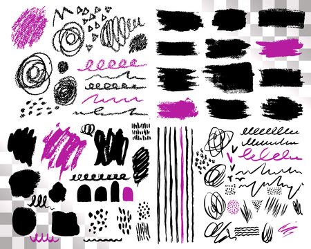 Vector Set of brush acrylic strokes. Black violet color on white background.