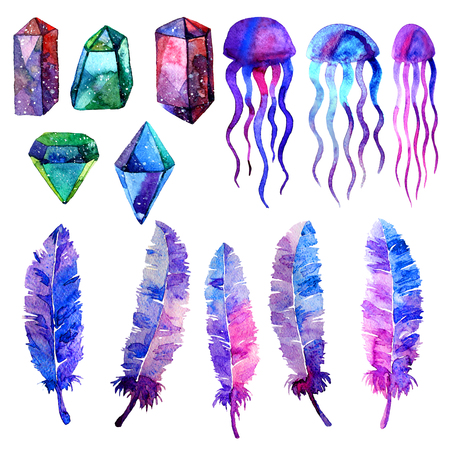 gemstone: Multicolor minerals. Watercolor illustration of crystal, jellyfish and berd feathers. Isolated on white background. Elements for wallpaper, textile, seamless patterns. Hand painted.
