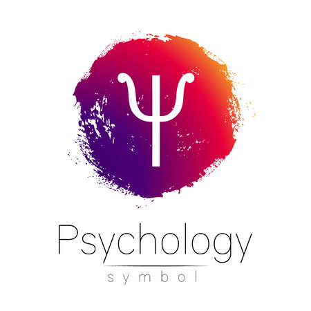 Modern logo of Psychology. Psi. Creative style. Logotype in vector. Design concept. Brand company. Pink color blot and letter on white background. Symbol for web, print, card, flyer. Brush stroke Vectores