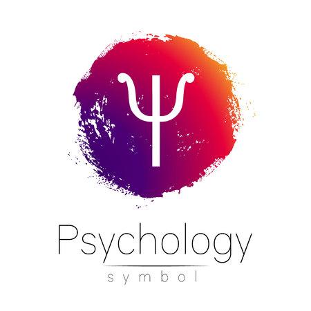 Logotipo moderno de la psicología. Psi. Estilo creativo. Logotipo en el vector. Concepto de diseño. Marca de la empresa. Mancha de color rosa y carta sobre fondo blanco. Símbolo para la tela, impresión, tarjeta, aviador. Pincelada Logos