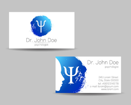 Psychology vector visit card. Modern logo. Creative style. Design concept. Brand company. Blue color isolated on gray background. Symbol for web, print. visiting personal set Ilustracja