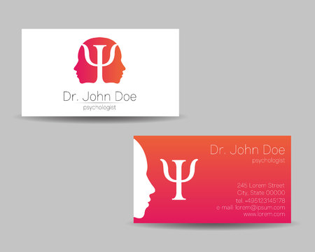 Psychology vector visit card. Modern logo. Creative style. Design concept. Brand company. Pink color isolated on gray background. Symbol for web, print. visiting personal set