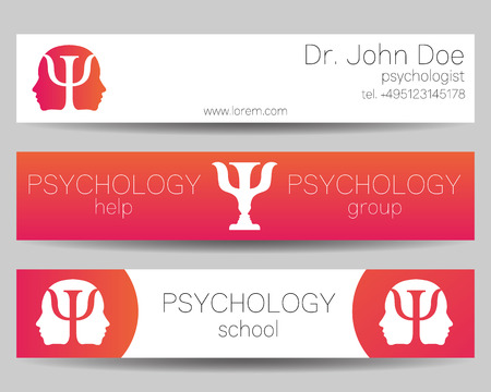 psychiatrist: Psychology Vector Web banner design background or header Templates. Psi logo. Symbol and icon, logotype. Profile Human. Creative style. Brand company concept. Pink color