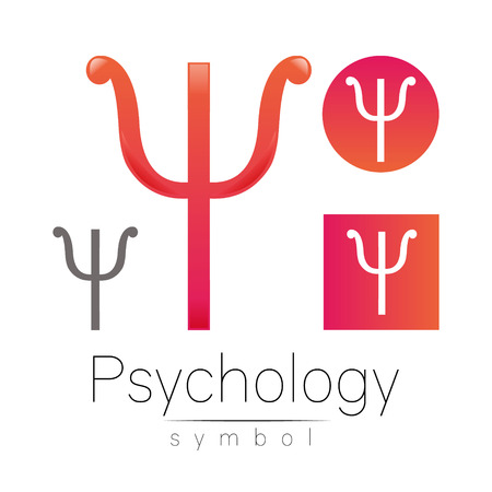 Modern logo of Psychology. Psi. Creative style. Logotype in vector. Design concept. Brand company. Pink color letter on white background. Symbol for web, print, card, flyer. Stock Photo