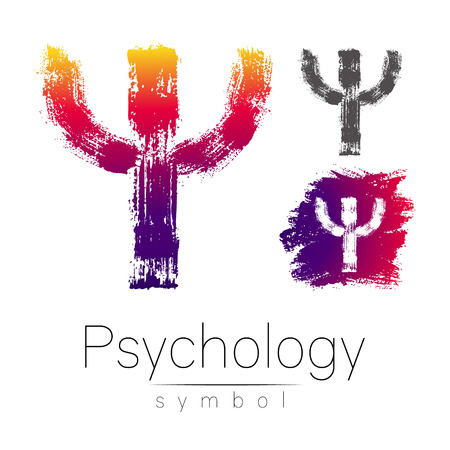 psychiatrist: Modern logo of Psychology. Psi. Creative style. Logotype in vector. Design concept. Brand company. Pink color letter on white background. Symbol for web, print, card, flyer. Brush stroke