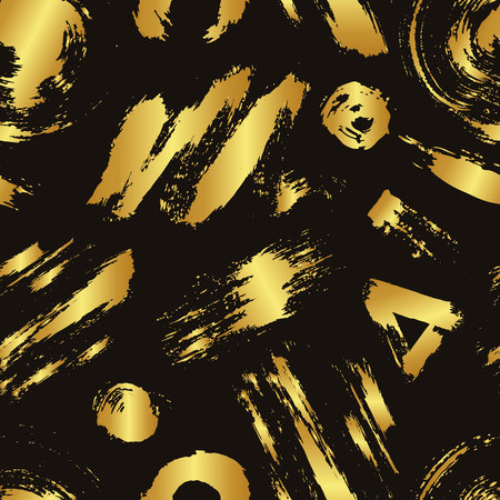wawe: Vector colorful seamless pattern with brush strokes and dots. Gold gradient color on black background. Hand painted grange texture. Ink geometric elements. Fashion modern style. Unusual teen