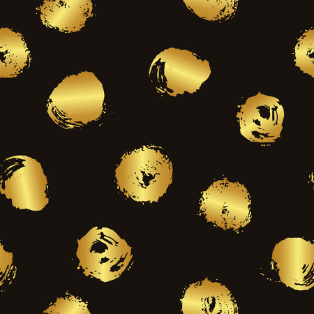 wawe: Vector seamless pattern with brush blots and circle. Gold gradient color on black background. Hand painted grange texture. Ink geometric elements. Fashion modern style. bright splash. Illustration